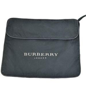 BURBERRY London Navy Leather & Logo Travel Bag qw